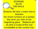 ZOOMING IN ON DECIMALS - SMARTBOARD WITH WORKSHEET