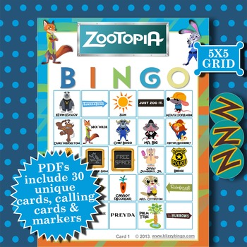 ZOOTOPIA 5x5 Bingo