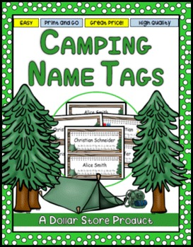 Camping Theme Desk Name Tags EDITABLE