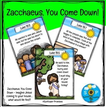 Zacchaeus Come Down Scripture Cards
