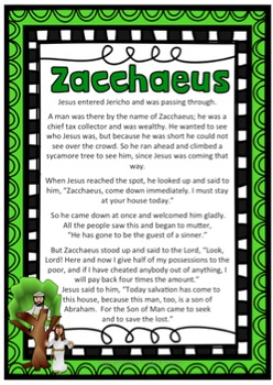 Bible Story of Zacchaeus ~ Jesus, Reconciliation, Choices, Religion