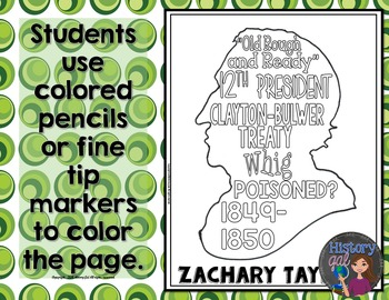 Zachary Taylor Coloring Page and Word Cloud Activity