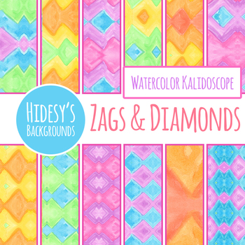 Zags and Diamonds Watercolor Theme Digital Paper / Background Clip Art