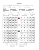 Zahlen (Numbers in German) Bingo Worksheet