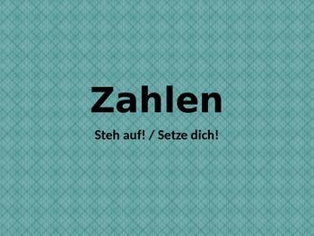 Zahlen (Numbers in German) Steh auf Setze dich