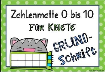 Zahlenmatte für Knete in der GRUNDSCHRIFT