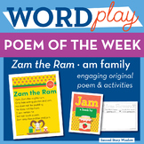 Zam the Ram - am Word Family Poem of the Week - Short Vowe