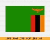 Zambia National Flag, Zambian Country Printable Banner SVG EPS AI PNG JPG PDF
