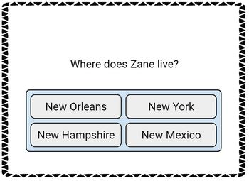Zane and the Hurricane no prep Digital BOOM CARDS
