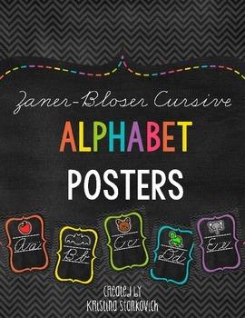 Zaner Bloser Cursive Alphabet {Chevron Chalkboard Theme}