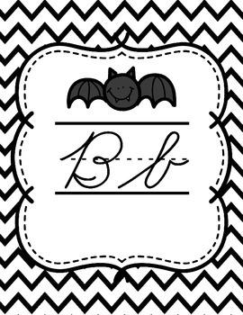 Zaner Bloser Cursive Alphabet {Black & White Chevron Theme}