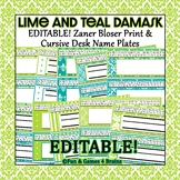 Zaner Bloser Lime and Teal Damask Themed EDITABLE nameplates