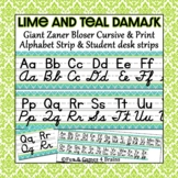 Zaner Bloser Lime and Teal Damask cursive and print giant