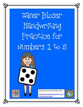 Zaner Bloser - Practice Numbers 1 to 5