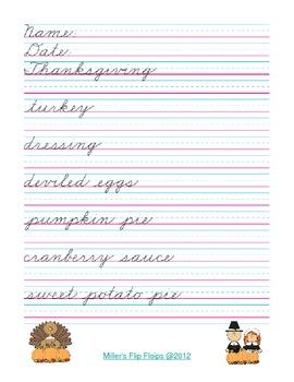Zaner-Bloser Thanksgiving Literacy Fun