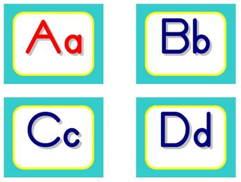 Zaner-Bloser Word Wall Letters - Aqua and Yellow