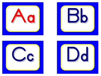 Zaner-Bloser Word Wall Letters - Blue and Yellow