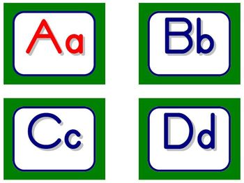 Zaner-Bloser Word Wall Letters - Green and Blue