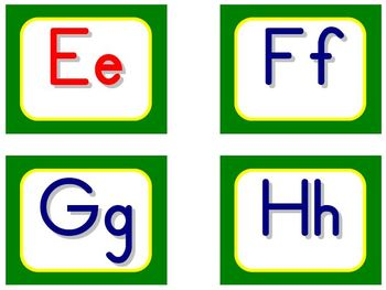 Zaner-Bloser Word Wall Letters - Green and Yellow
