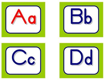 Zaner-Bloser Word Wall Letters - Lime and Blue