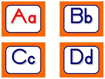 Zaner-Bloser Word Wall Letters - Orange and Blue