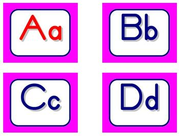 Zaner-Bloser Word Wall Letters - Pink and Blue