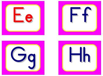 Zaner-Bloser Word Wall Letters - Pink and Yellow