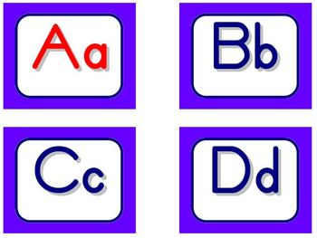 Zaner-Bloser Word Wall Letters - Purple and Blue