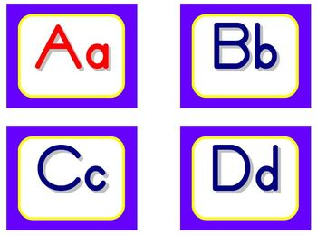 Zaner-Bloser Word Wall Letters - Purple and Yellow