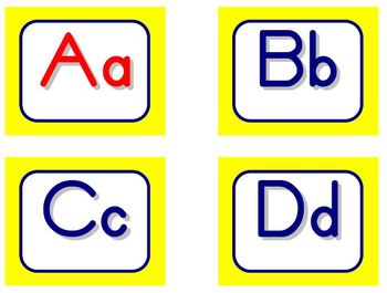 Zaner-Bloser Word Wall Letters - Yellow and Blue