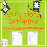 Zany Sight Word Scramble with EDITABLE version