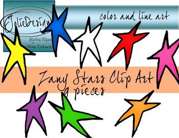 Zany Stars Clip Art - Color and Line Art 9 pc set