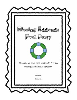 Zany Zebras Missing Addends Pool Party