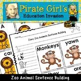 Zany Zoo Animals Sentence Building Activity