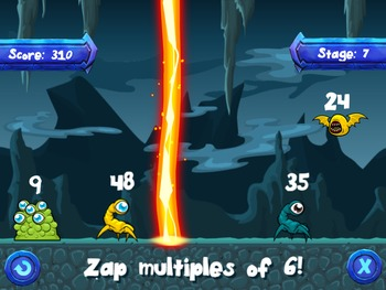 Zap-A-Zoid - Factors, multiples, odd, even, & prime numbers. (RoomRecess.com)