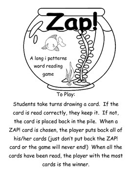 Zap! A fishy way to practice long i patterns   Printer Friendly version