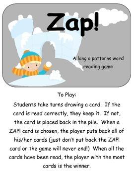 Zap! A snowy themed long o pattern game