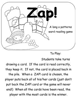 Zap! A snowy themed long o pattern game  Printer Friendly version
