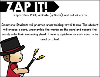 Zap IT! Vowel Teams