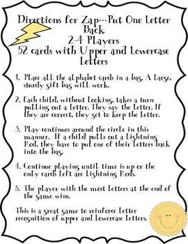 Alphabet Letter Recognition Zap Put One Letter Back Game
