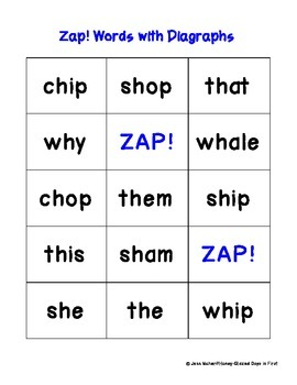 Zap! Word Game: Digraphs ch, wh, th, sh