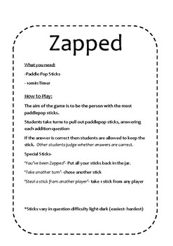 Zapped Instruction Card