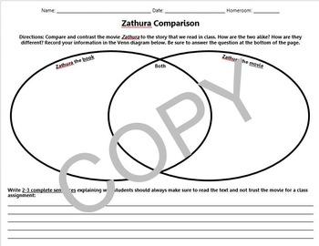 Zathura Movie to Book Venn Diagram