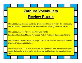 Zathura Vocabulary Review Puzzle