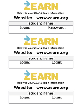 Zearn login sheet
