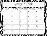 Zebra 2012-2013 Calendar