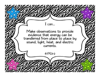 "Zebra 4th Grade Next Generation Science Standards ""I Can"" Statements"