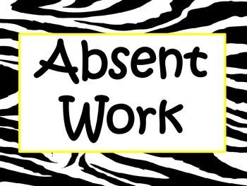Zebra Absent Work Poster