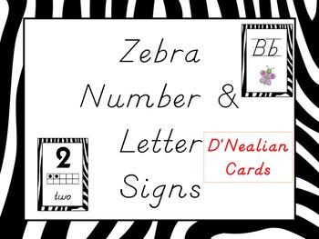 Zebra Alphabet & Numbers {d'nealian}