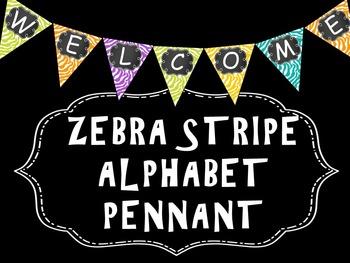 Zebra Alphabet Pennant - Bunting - Classroom Decor